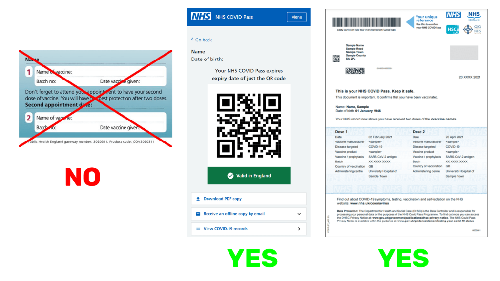 NHS COVID Pass examples for England